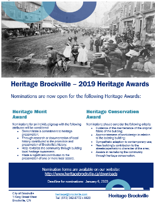 Heritage Brockville - 2019 Heritage Awards