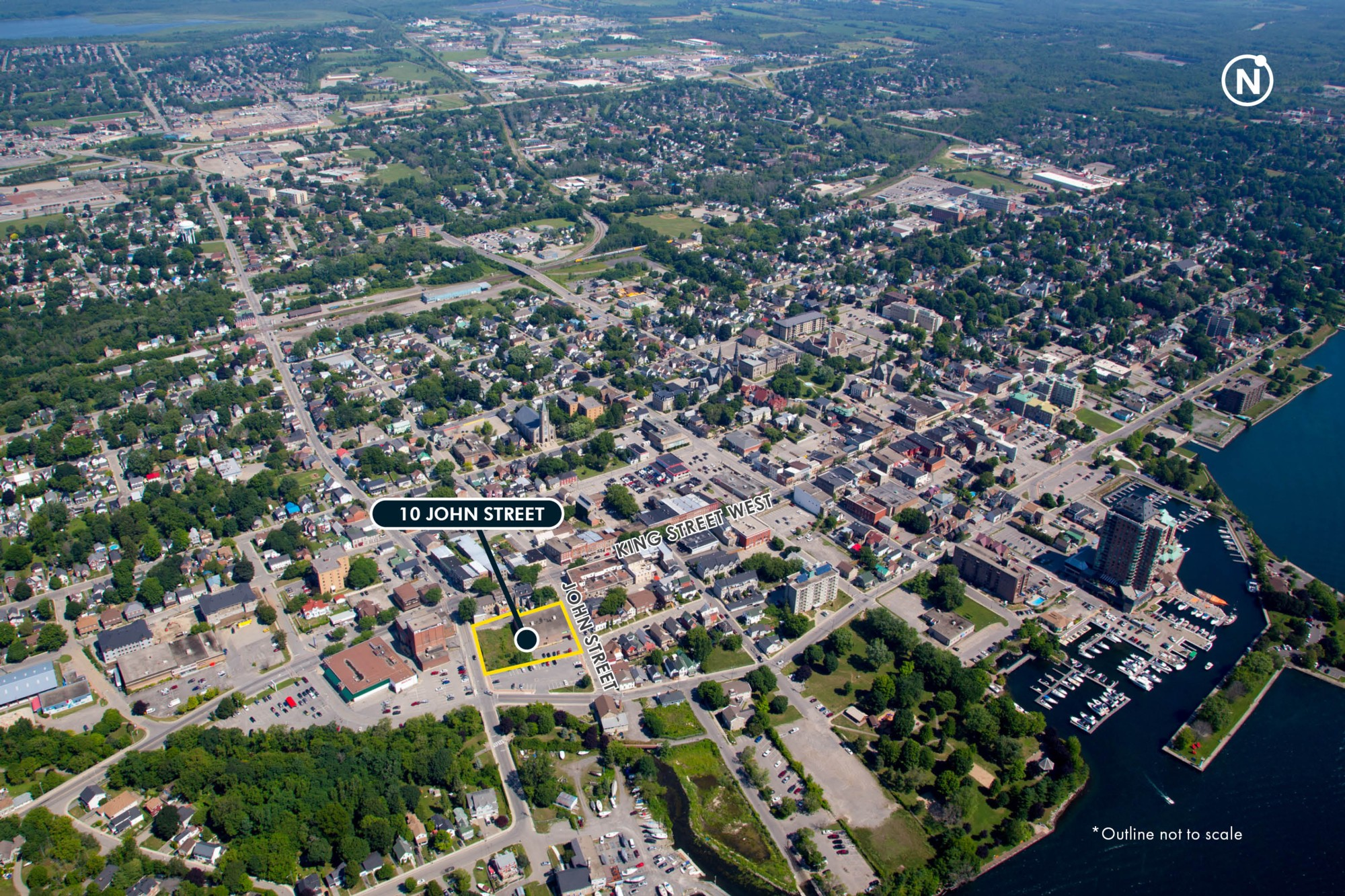 10 John Street aerial view with the river - Brockville, ON