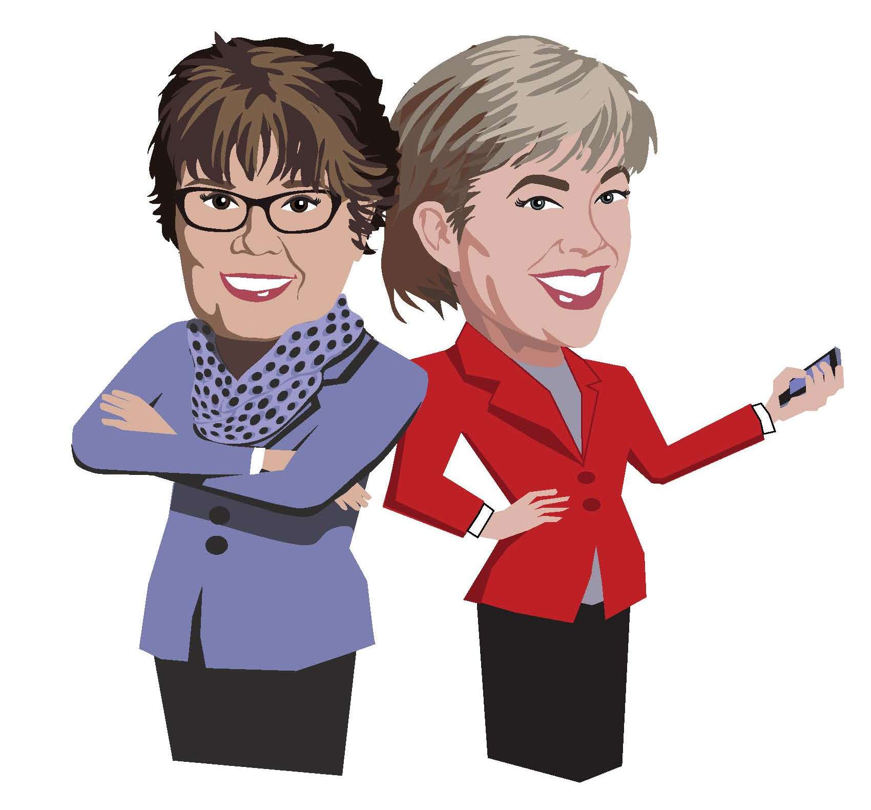 Caricatures of LGSBEC staff Wendy and Jeanette