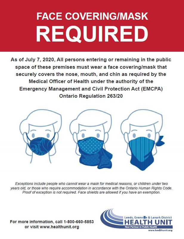 Masks Required Poster from the Health Unit