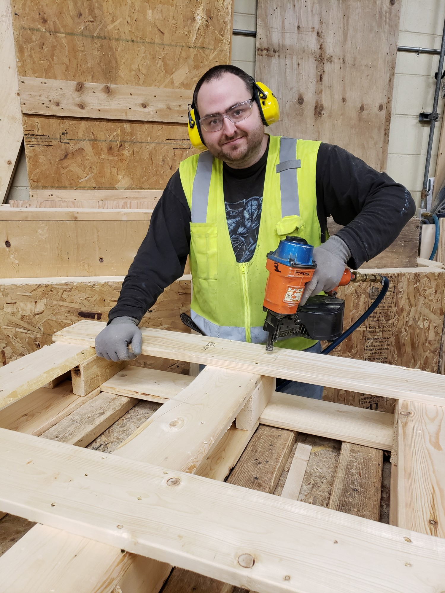 Nick in woodworking at Career Services in Brockville
