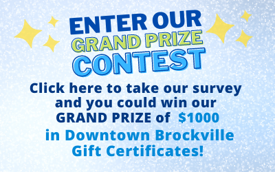 Click here to take our River of Lights survey and to enter our contest to win our grand prize of $1000 in Downtown Brockville gift certificates