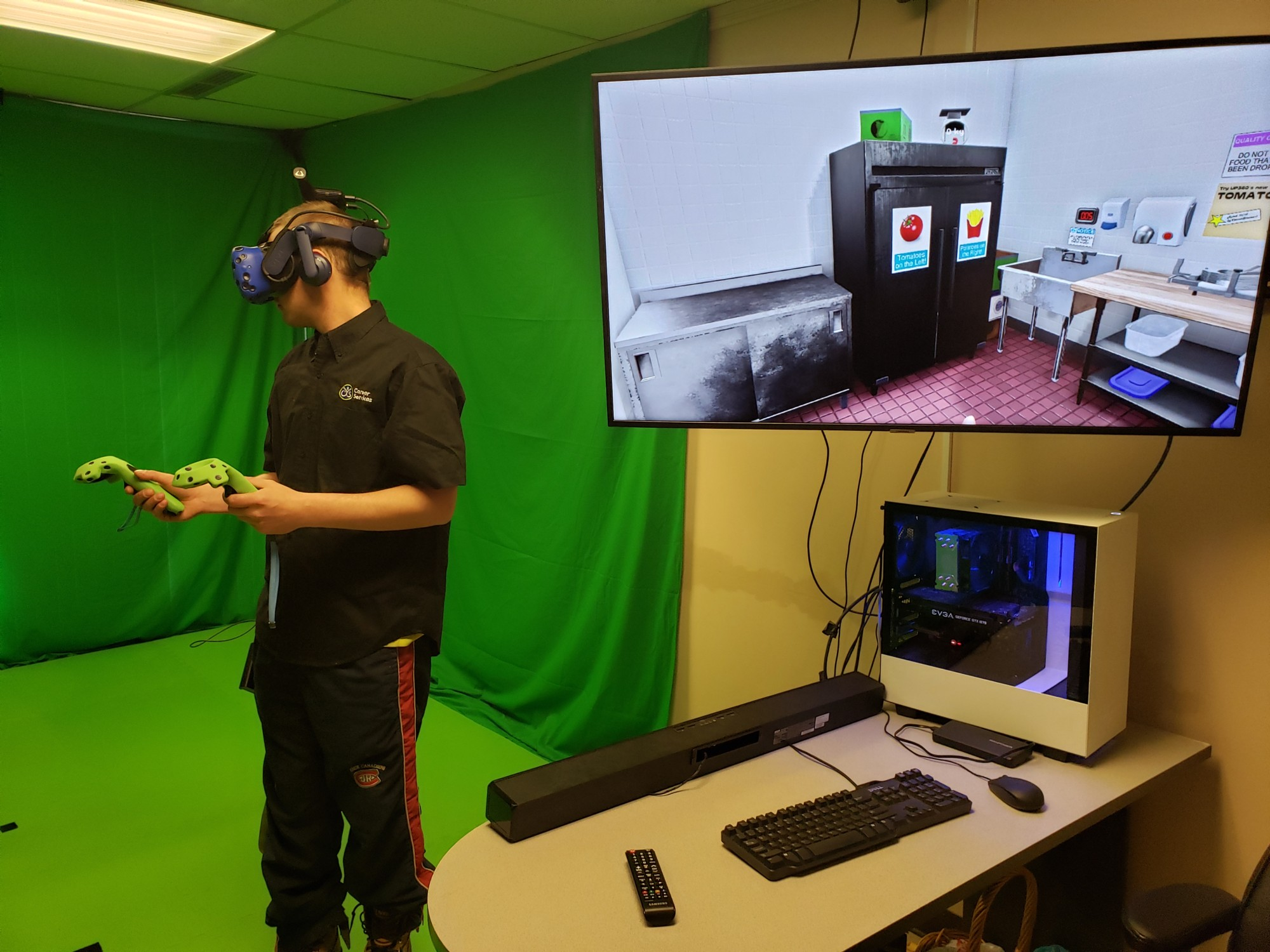 Zack on the VR (Virtual Reality) training system at Career Services in Brockville