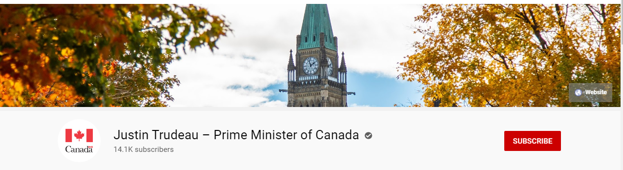 Prime Minister Justin Trudeau website banner for YouTube Channel