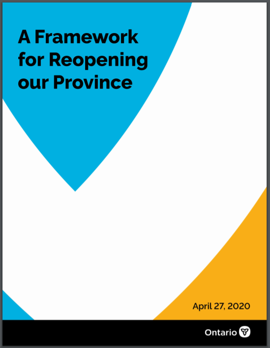 cover of the Framework for Reopening our Province document