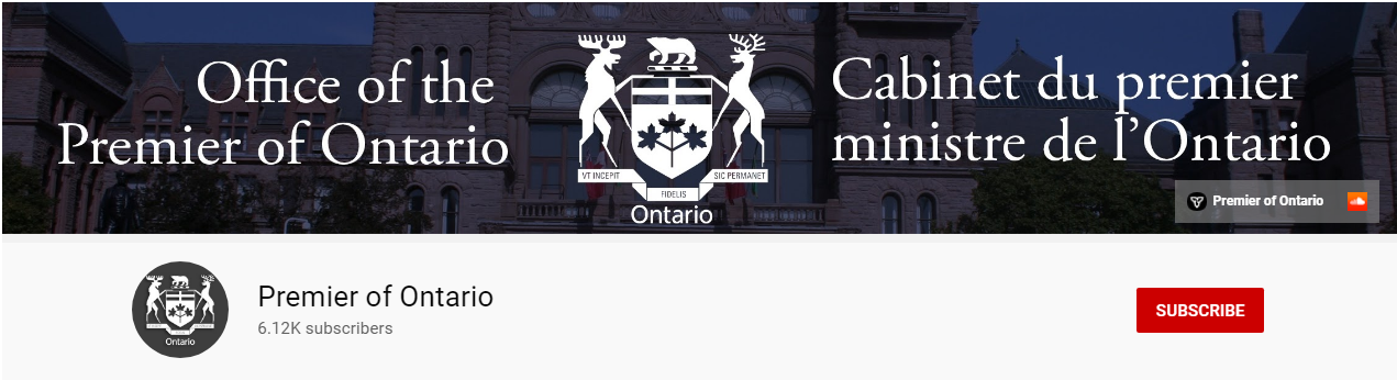 Premier of Ontario website banner for YouTube channel